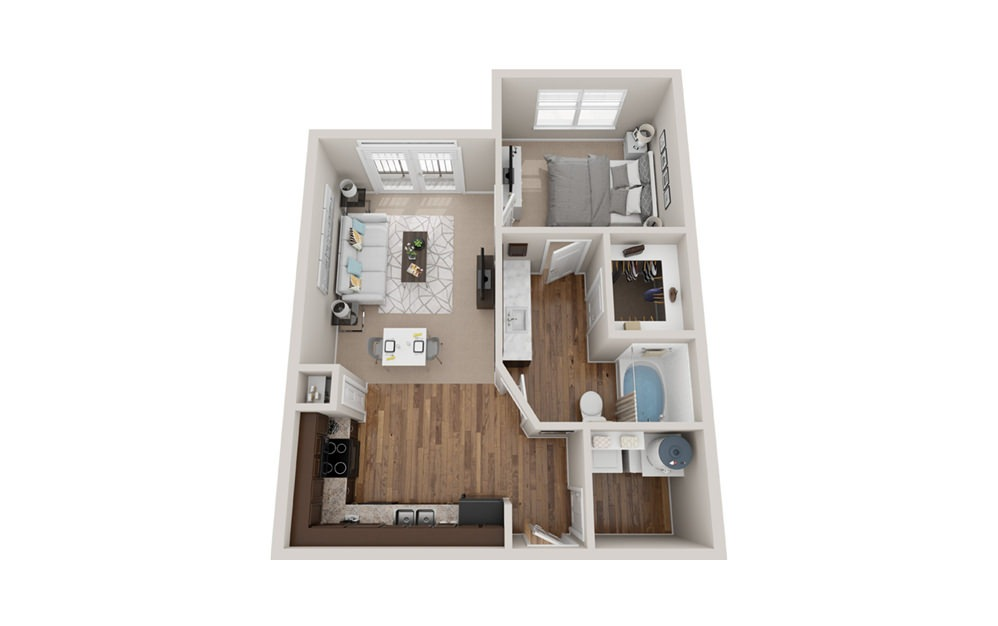 A1j - 1 bedroom floorplan layout with 1 bath and 650 to 660 square feet.