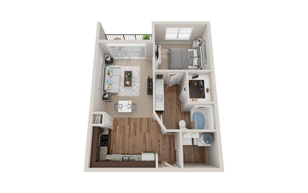 A1t - 1 bedroom floorplan layout with 1 bath and 700 square feet.