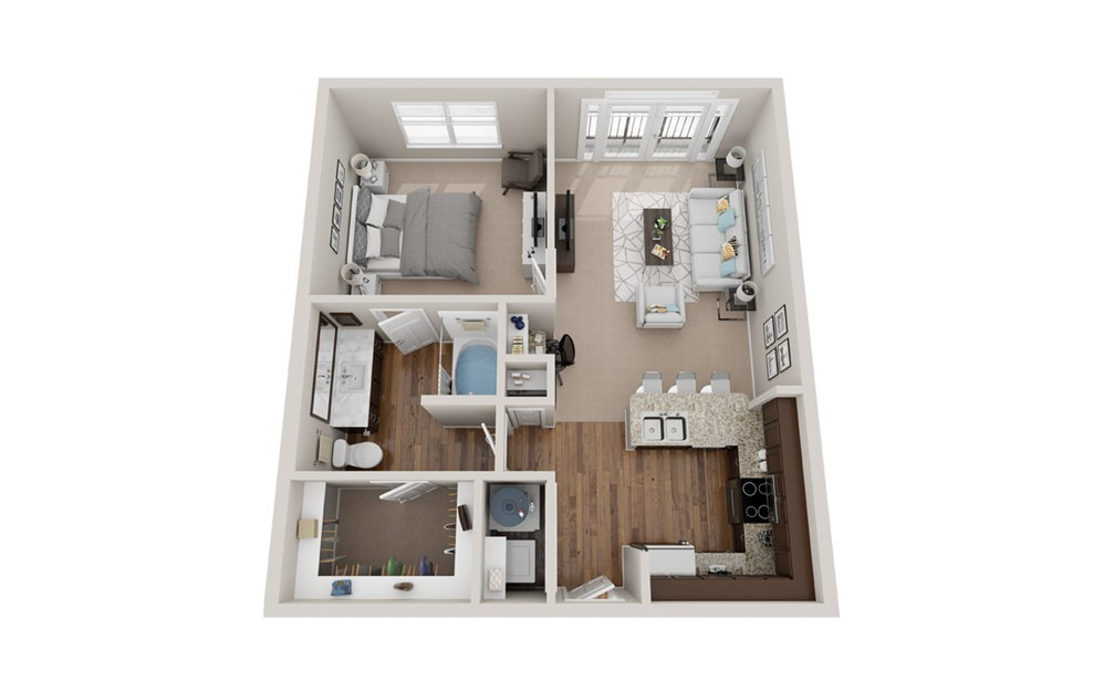A2 - 1 bedroom floorplan layout with 1 bath and 720 to 750 square feet.