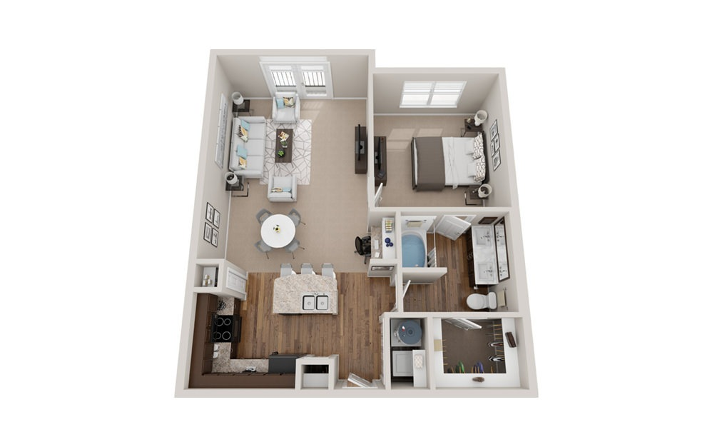 A3j - 1 bedroom floorplan layout with 1 bath and 820 to 830 square feet.