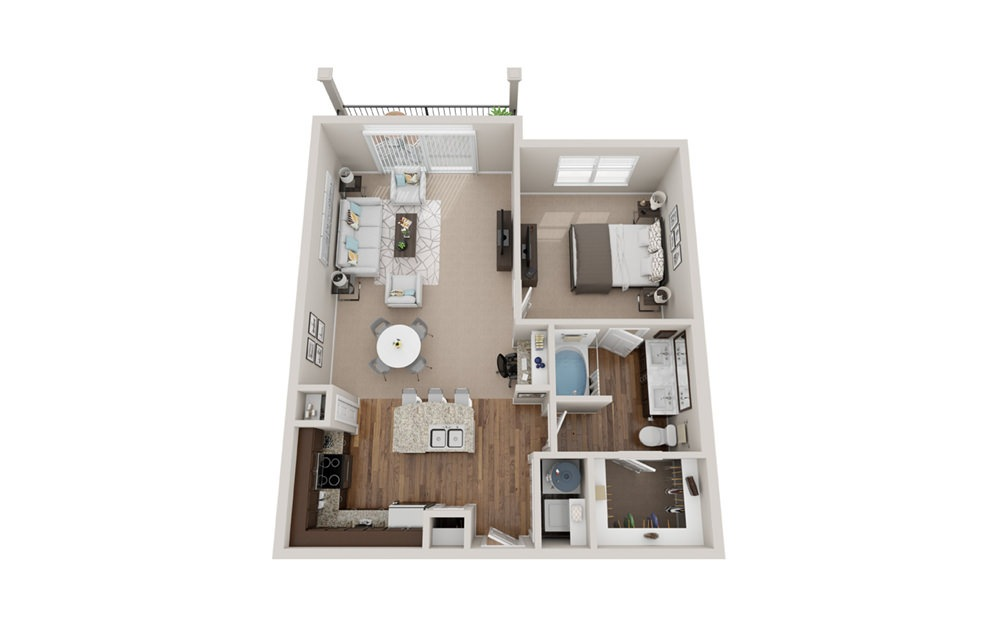 A3t - 1 bedroom floorplan layout with 1 bath and 890 square feet.