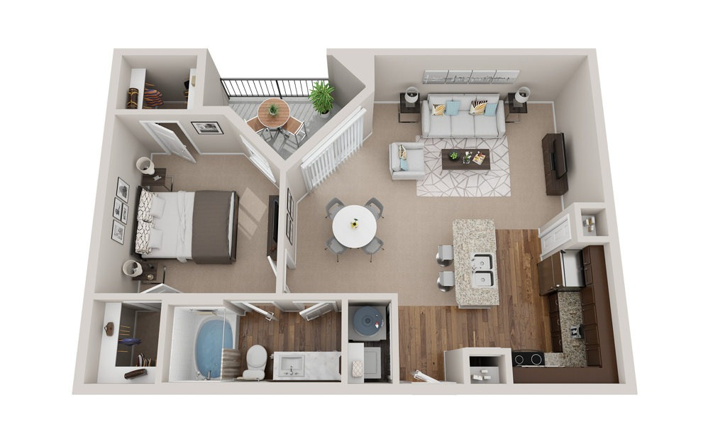 A4 - 1 bedroom floorplan layout with 1 bath and 890 square feet.