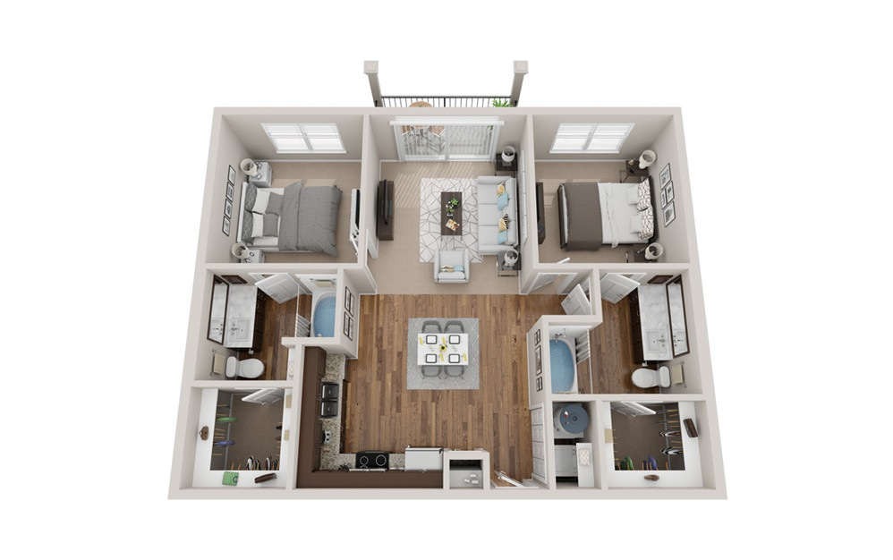 B1t - 2 bedroom floorplan layout with 2 baths and 1060 square feet.