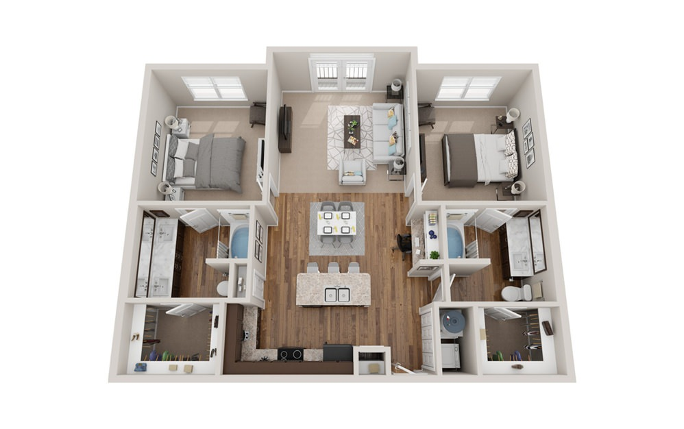 B2j - 2 bedroom floorplan layout with 2 baths and 1160 to 1180 square feet.