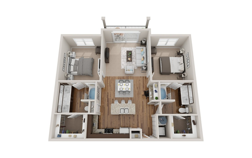 B2t - 2 bedroom floorplan layout with 2 baths and 1230 square feet.