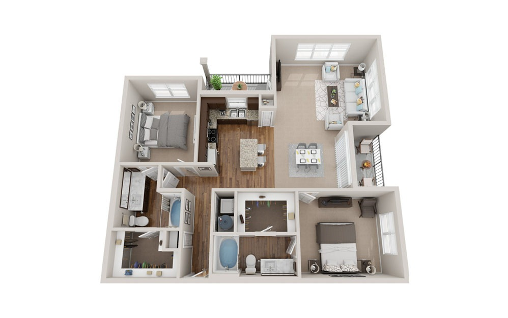 B3 - 2 bedroom floorplan layout with 2 baths and 1400 square feet.