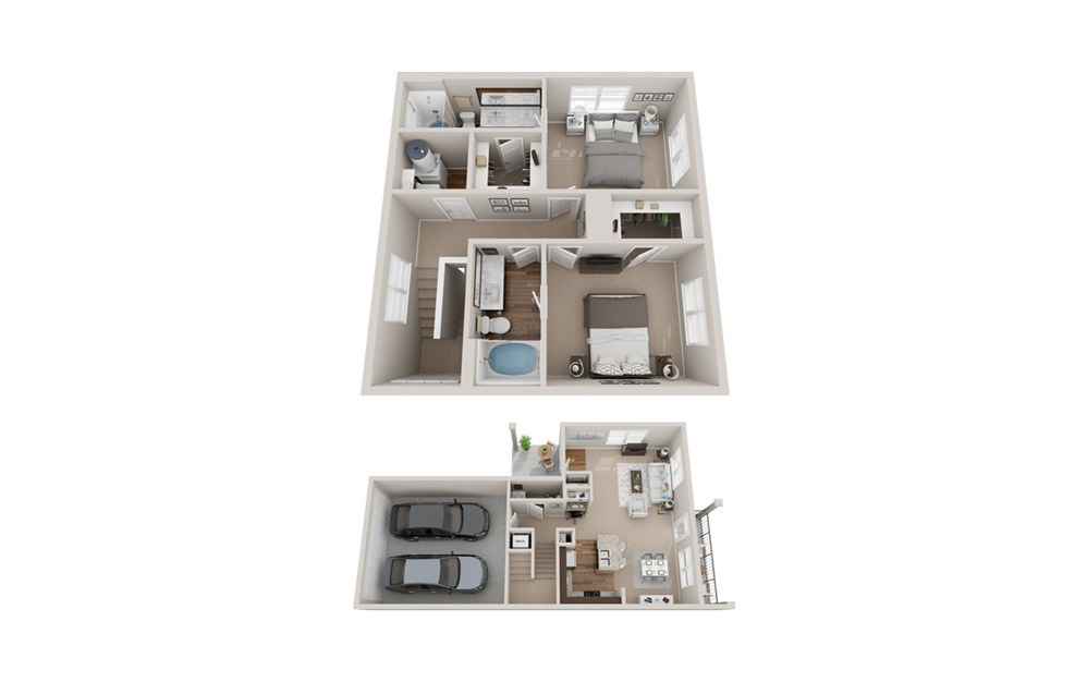 B4TH - 2 bedroom floorplan layout with 2.5 baths and 1490 square feet.