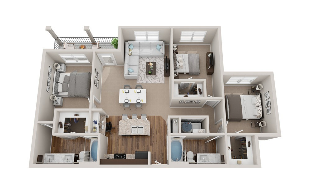 C1 - 3 bedroom floorplan layout with 2 baths and 1400 square feet.